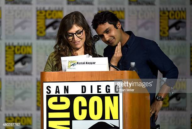Actress Mayim Bialik and actor Kunal Nayyar read fan fiction during the Inside 'The Big Bang Theory' Writer's Room panel during ComicCon...