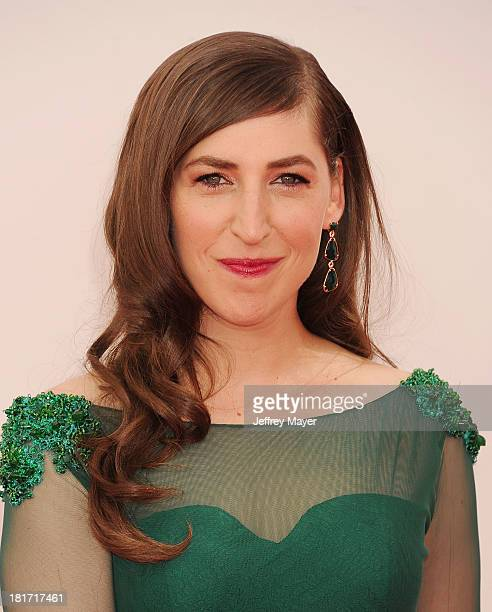 Actress Mayim Bialik arrives at the 65th Annual Primetime Emmy Awards at Nokia Theatre LA Live on September 22 2013 in Los Angeles California