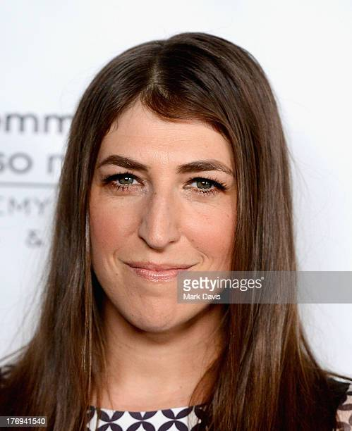 Actress Mayim Bialik arrives at the Academy of Television Arts Sciences' Performers Peer Group cocktail reception to celebrate the 65th Primetime...