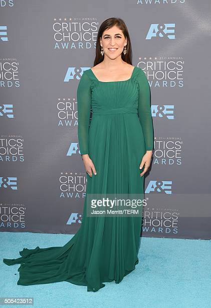 Actress Mayim Bialik attends the 21st Annual Critics' Choice Awards at Barker Hangar on January 17 2016 in Santa Monica California