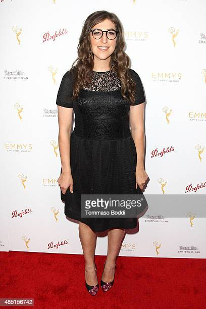 Actress Mayim Bialik attends the Television Academy's Performers Peer Group Hold Cocktail Reception To Celebrate 67th Emmy Awards held at Montage...