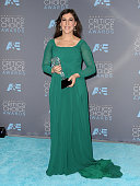 Actress Mayim Bialik poses in the press room at the 21st annual Critics' Choice Awards at Barker Hangar on January 17 2016 in Santa Monica California
