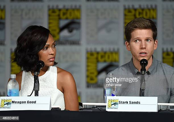 Actress Meagan Good and actor Stark Sands speak onstage at the 'Minority Report' panel during ComicCon International 2015 at the San Diego Convention...