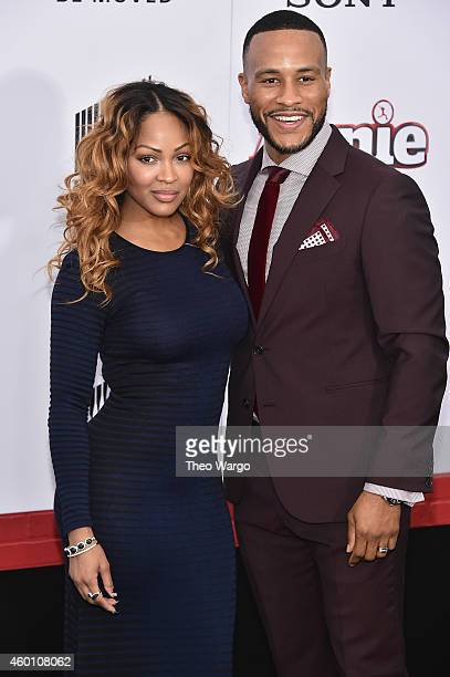Actress Meagan Good and author DeVon Franklin attends the 'Annie' World Premiere at Ziegfeld Theater on December 7 2014 in New York City