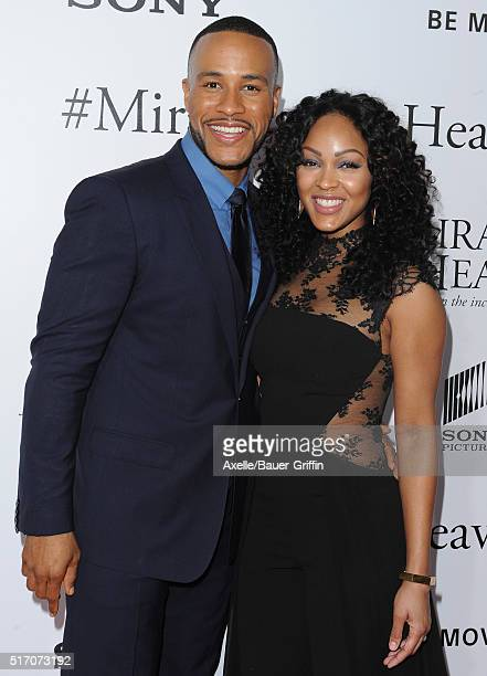 Actress Meagan Good and DeVon Franklin arrive at the premiere of Columbia Pictures' 'Miracles From Heaven' at ArcLight Hollywood on March 9 2016 in...