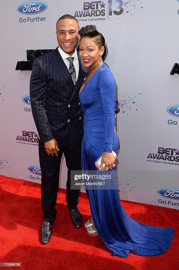 Actress Meagan Good (R) and DeVon Franklin attend the Ford Red Carpet at the 2013 BET Awards at Nokia Theatre L.A. Live on June 30, 2013 in Los Angeles, California.