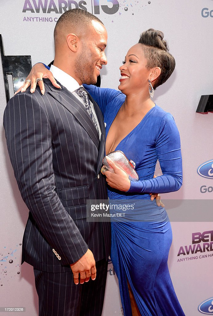 Actress <a gi-track='captionPersonalityLinkClicked' href=/galleries/search?phrase=Meagan+Good&family=editorial&specificpeople=171680 ng-click='$event.stopPropagation()'>Meagan Good</a> (R) and DeVon Franklin attend the Ford Red Carpet at the 2013 BET Awards at Nokia Theatre L.A. Live on June 30, 2013 in Los Angeles, California.