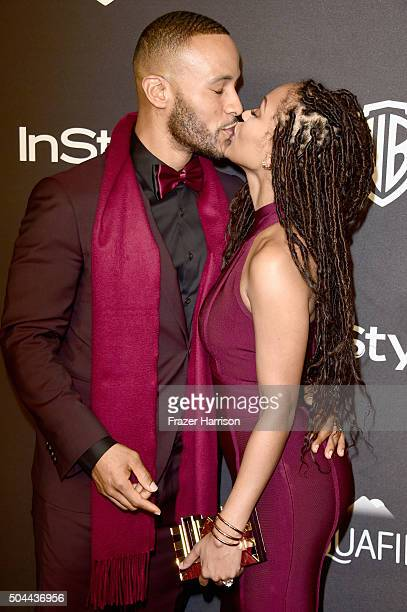 Actress Meagan Good and writer DeVon Franklin attend InStyle and Warner Bros 73rd Annual Golden Globe Awards PostParty at The Beverly Hilton Hotel on...