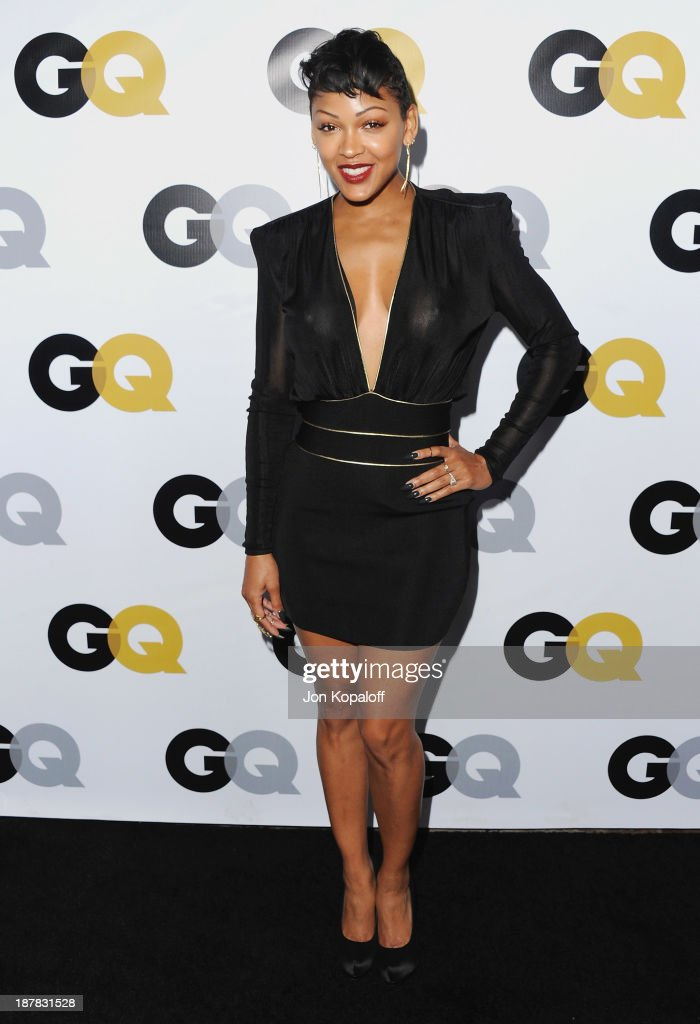 Actress <a gi-track='captionPersonalityLinkClicked' href=/galleries/search?phrase=Meagan+Good&family=editorial&specificpeople=171680 ng-click='$event.stopPropagation()'>Meagan Good</a> arrives at GQ Celebrates The 2013 'Men Of The Year' at The Wilshire Ebell Theatre on November 12, 2013 in Los Angeles, California.