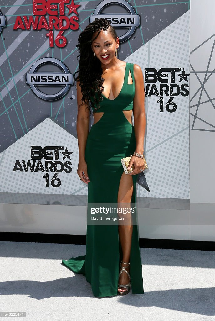 Actress <a gi-track='captionPersonalityLinkClicked' href=/galleries/search?phrase=Meagan+Good&family=editorial&specificpeople=171680 ng-click='$event.stopPropagation()'>Meagan Good</a> attends the 2016 BET Awards at Microsoft Theater on June 26, 2016 in Los Angeles, California.