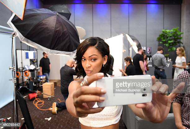 Actress Meagan Good of 'Minority Report' takes a selfie at the Getty Images Portrait Studio powered by Samsung Galaxy at ComicCon International 2015...