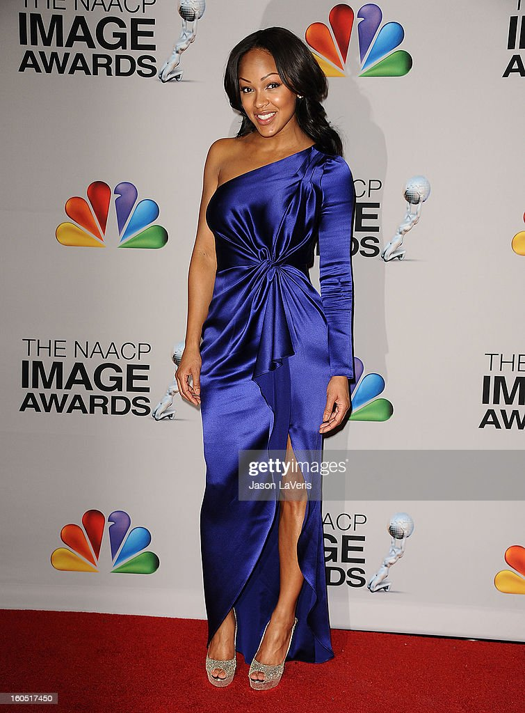 Actress Meagan Good poses in the press room at the 44th NAACP Image Awards at The Shrine Auditorium on February 1, 2013 in Los Angeles, California.