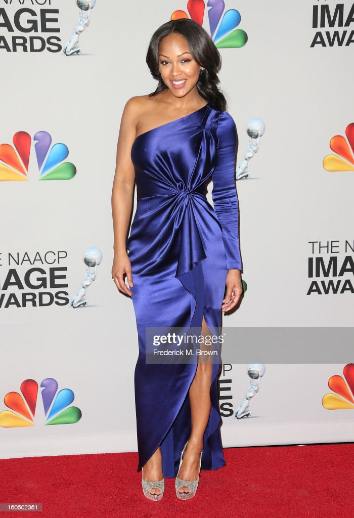 Actress Meagan Good poses in the press room during the 44th NAACP Image Awards at The Shrine Auditorium on February 1, 2013 in Los Angeles, California.