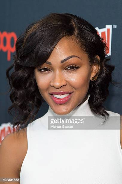 Actress Meagan Good poses in the press room for the 'Minority Report' panel during Comic Con Day 4 at The Jacob K Javits Convention Center on October...