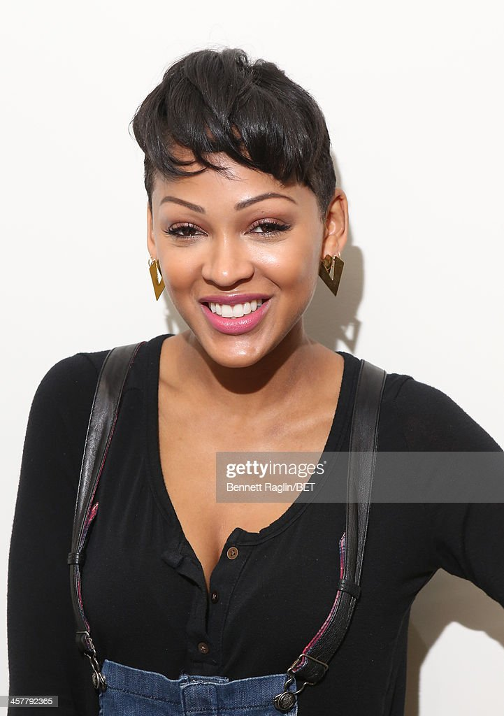Actress <a gi-track='captionPersonalityLinkClicked' href=/galleries/search?phrase=Meagan+Good&family=editorial&specificpeople=171680 ng-click='$event.stopPropagation()'>Meagan Good</a> visits 106 & Park at BET studio on December 17, 2013 in New York City.