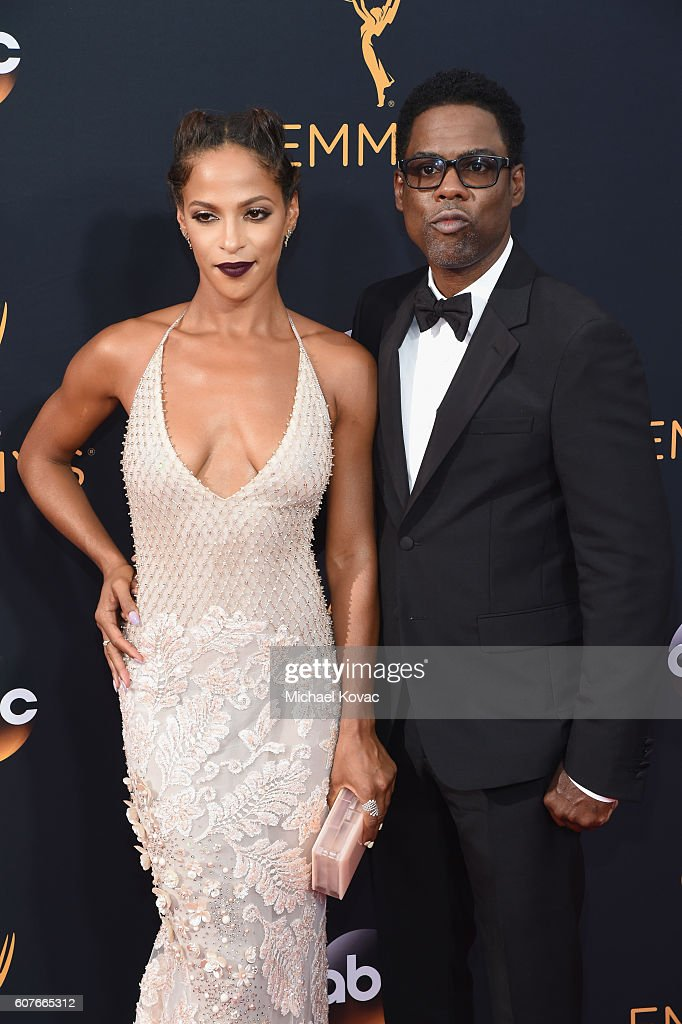 Actress Megalyn Echikunwoke (L) and actor Chris Rock attend the 68th Annual Primetime Emmy Awards at Microsoft Theater on September 18, 2016 in Los Angeles, California.
