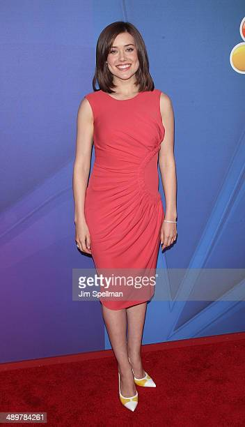 Actress Megan Boone from 'The Blacklist' attends the 2014 NBC Upfront Presentation at The Jacob K Javits Convention Center on May 12 2014 in New York...