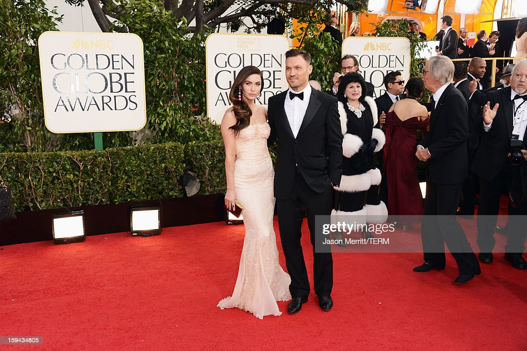 Actress Megan Fox (L) and actor Brian Austin Green arrive at the 70th Annual Golden Globe Awards held at The Beverly Hilton Hotel on January 13, 2013 in Beverly Hills, California.