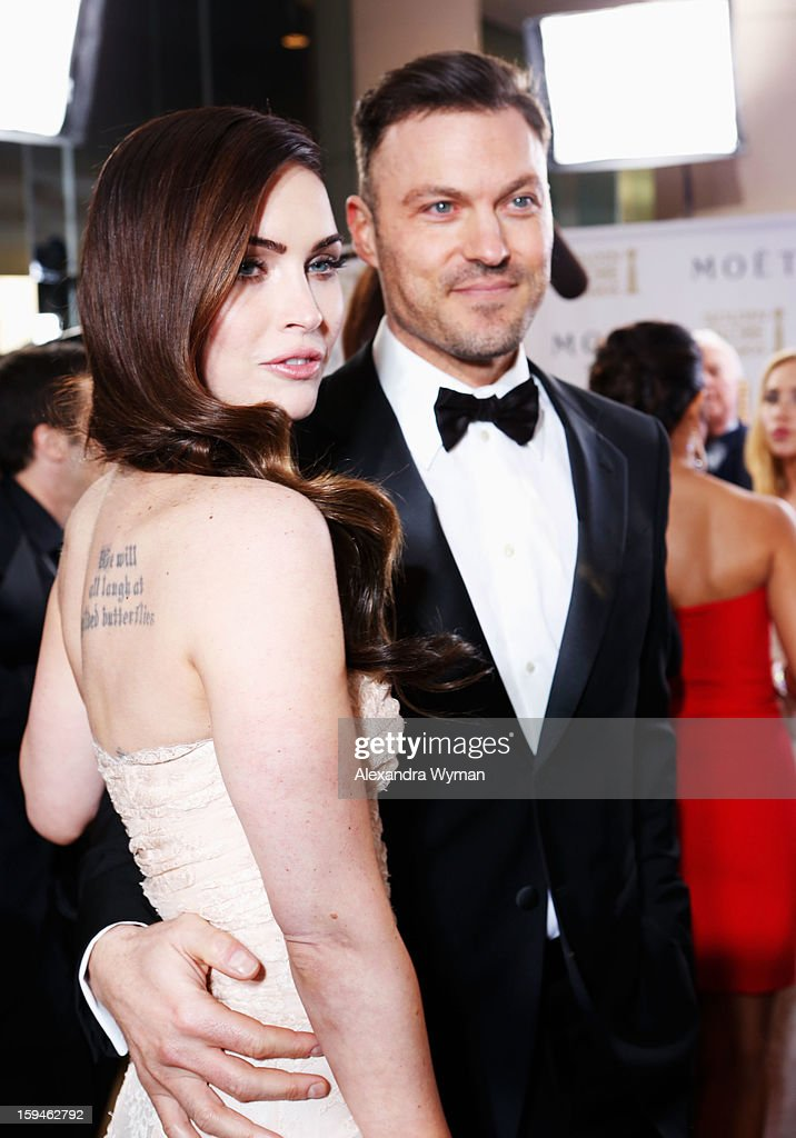 Actress <a gi-track='captionPersonalityLinkClicked' href=/galleries/search?phrase=Megan+Fox&family=editorial&specificpeople=2239934 ng-click='$event.stopPropagation()'>Megan Fox</a> and actor Brian Austin Green arrive at the 70th Annual Golden Globe Awards held at The Beverly Hilton Hotel on January 13, 2013 in Beverly Hills, California.