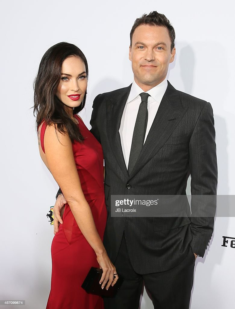 Actress <a gi-track='captionPersonalityLinkClicked' href=/galleries/search?phrase=Megan+Fox&family=editorial&specificpeople=2239934 ng-click='$event.stopPropagation()'>Megan Fox</a> and <a gi-track='captionPersonalityLinkClicked' href=/galleries/search?phrase=Brian+Austin+Green&family=editorial&specificpeople=239168 ng-click='$event.stopPropagation()'>Brian Austin Green</a> attend Ferrari's 60th Anniversary in the USA Gala at the Wallis Annenberg Center for the Performing Arts on October 11, 2014 in Beverly Hills, California.