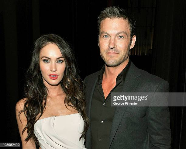 Actress Megan Fox and husband actor Brian Austin Green arrive at the 'Passion Play' Premiere held at Ryerson Theatre during the 35th Toronto...
