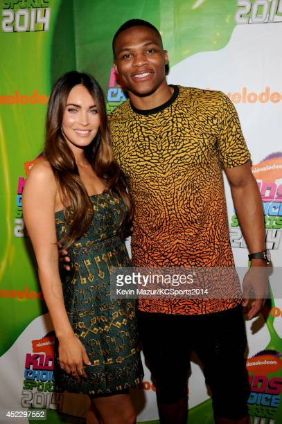 Actress Megan Fox and NBA player Russell Westbrook attend Nickelodeon Kids' Choice Sports Awards 2014 at UCLA's Pauley Pavilion on July 17 2014 in...