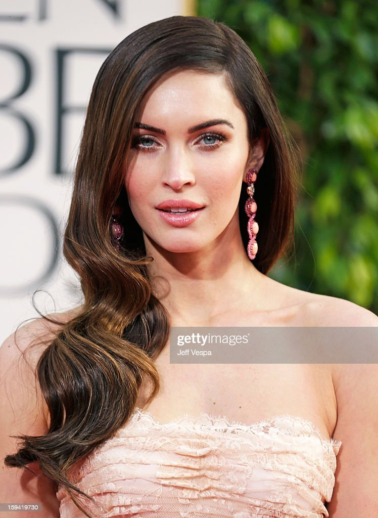Actress <a gi-track='captionPersonalityLinkClicked' href=/galleries/search?phrase=Megan+Fox&family=editorial&specificpeople=2239934 ng-click='$event.stopPropagation()'>Megan Fox</a> arrives at the 70th Annual Golden Globe Awards held at The Beverly Hilton Hotel on January 13, 2013 in Beverly Hills, California.