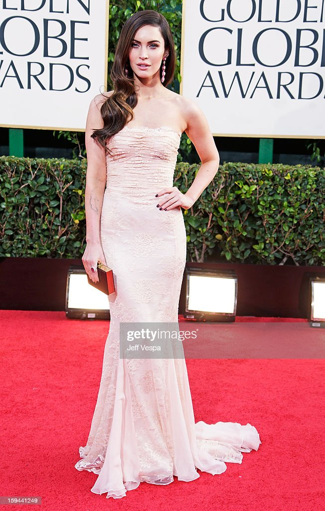Actress Megan Fox arrives at the 70th Annual Golden Globe Awards held at The Beverly Hilton Hotel on January 13, 2013 in Beverly Hills, California.