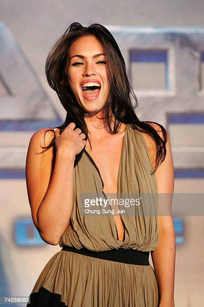 Actress Megan Fox attend a photocall before a press conference to promote her new film 'Transformers' on June 11 2007 in Seoul South Korea Korea is...