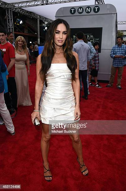 Actress Megan Fox attends the premiere of Paramount Pictures' 'Teenage Mutant Ninja Turtles' at Regency Village Theatre on August 3 2014 in Westwood...