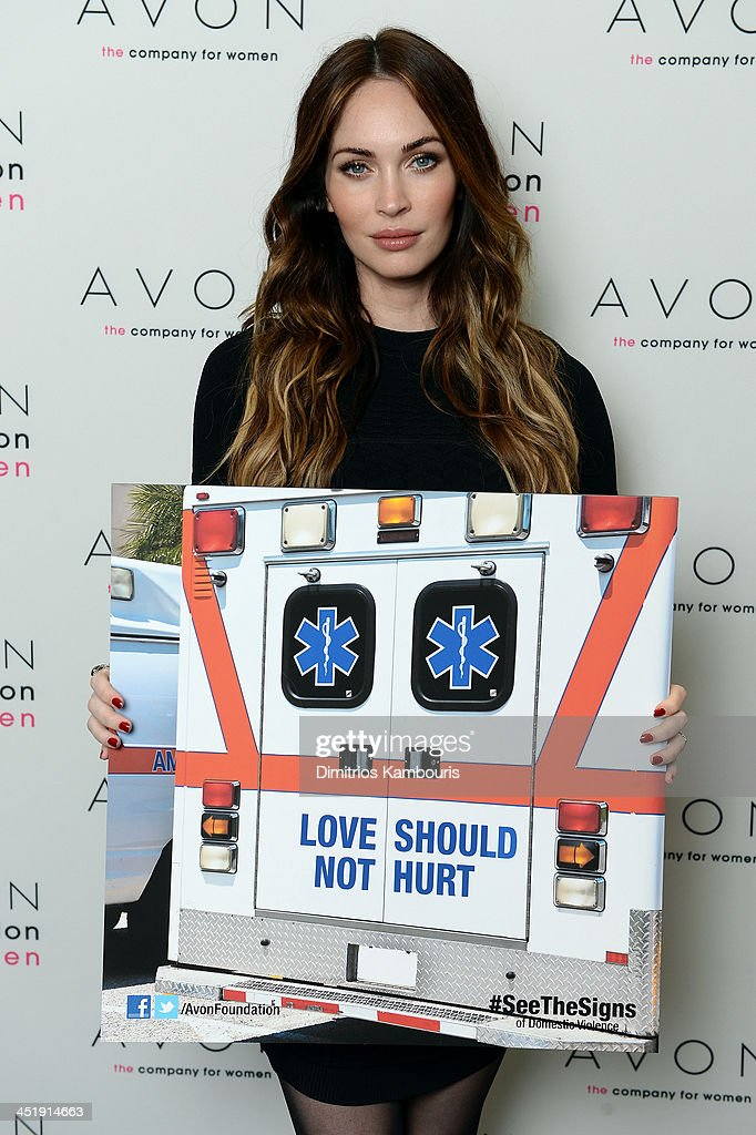 Actress <a gi-track='captionPersonalityLinkClicked' href=/galleries/search?phrase=Megan+Fox&family=editorial&specificpeople=2239934 ng-click='$event.stopPropagation()'>Megan Fox</a> helped the Avon Foundation launch its new global Facebook campaign, #SeeTheSigns of Domestic Violence, on November 22, the International Day for the Elimination of Violence Against Women.
