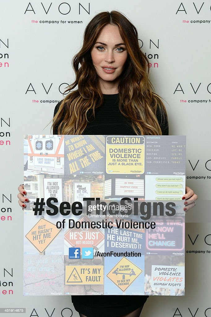 Actress <a gi-track='captionPersonalityLinkClicked' href=/galleries/search?phrase=Megan+Fox&family=editorial&specificpeople=2239934 ng-click='$event.stopPropagation()'>Megan Fox</a> helped the Avon Foundation launch its new global Facebook campaign, #SeeTheSigns of Domestic Violence, on November 25, the International Day for the Elimination of Violence Against Women.