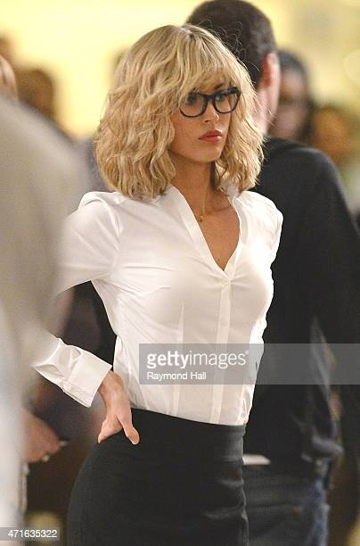 Actress Megan Fox in a blond wig seen on the set of 'Teenage Mutant Ninja Turtles 2' filming in Grand Central on April 30 2015 in New York City