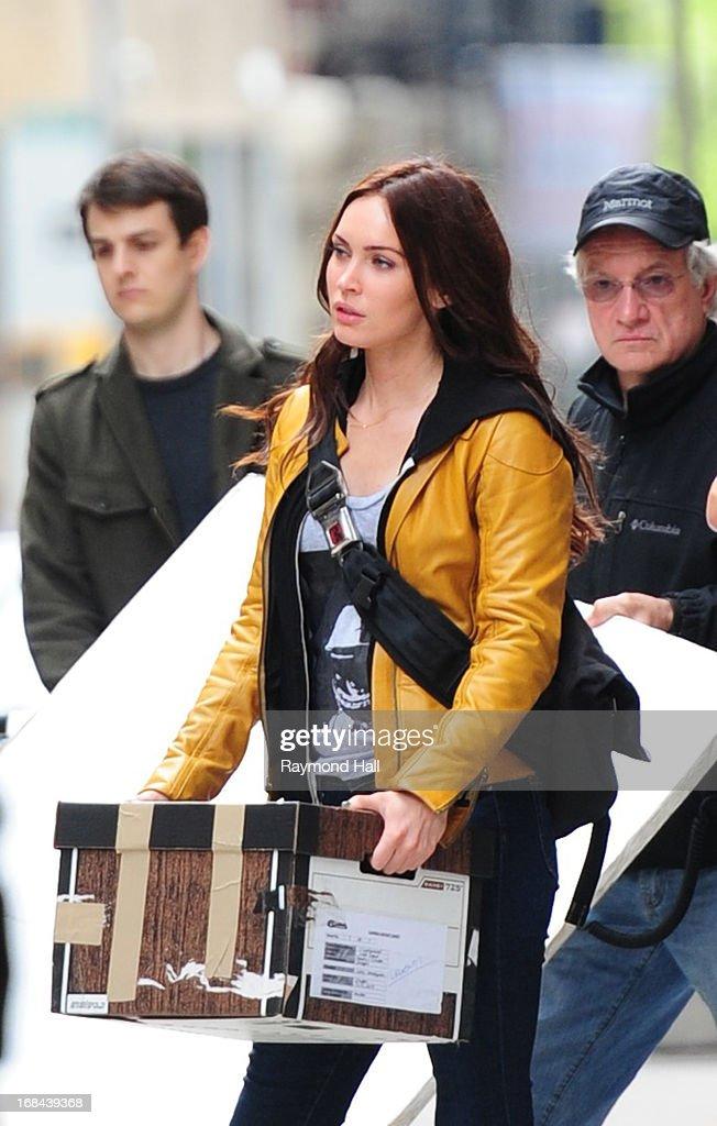 Actress Megan Fox is seen on the set of 'Teenage Mutant Ninja Turtles' on May 9, 2013 in New York City.
