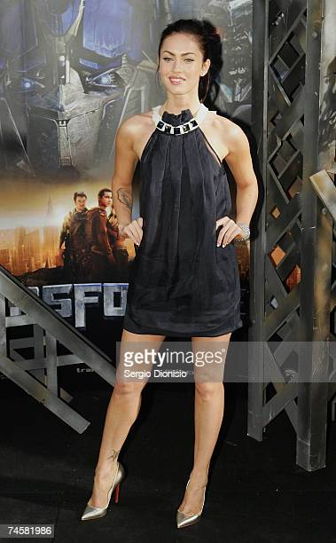 Actress Megan Fox of the US attends the Press Conference for the new film 'Transformers' at Carriageworks on June 13 2007 in Sydney Australia