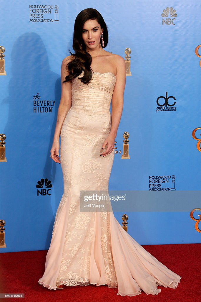 Actress Megan Fox poses in the press room at the 70th Annual Golden Globe Awards held at The Beverly Hilton Hotel on January 13, 2013 in Beverly Hills, California.