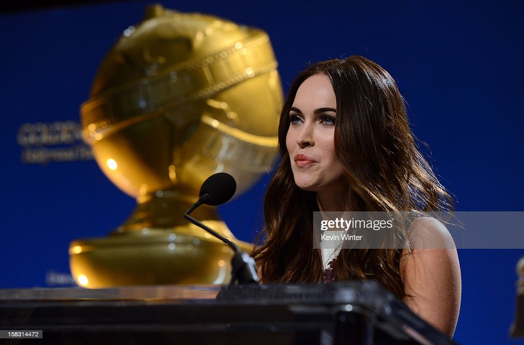 Actress Megan Fox speaks onstage during the 70th Annual Golden Globes Awards Nominations at the Beverly Hilton Hotel on December 13, 2012 in Los Angeles, California.
