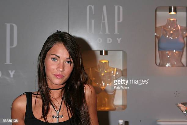 Actress Megan Fox visits the Gap Body booth attends day 4 of Olympus Fashion Week Spring 2006 at Bryant Park September 12 2005 in New York City