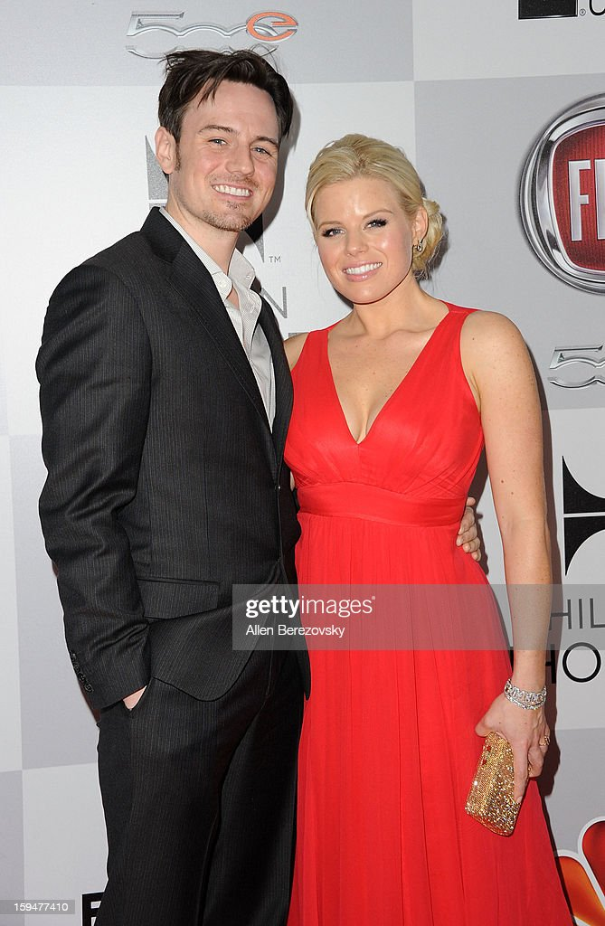 Actress Megan Hilty (R) and Brian Gallagher arrive at the NBC Universal's 70th annual Golden Globe Awards after party on January 13, 2013 in Beverly Hills, California.