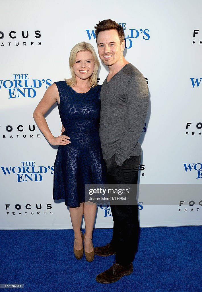 Actress <a gi-track='captionPersonalityLinkClicked' href=/galleries/search?phrase=Megan+Hilty&family=editorial&specificpeople=602492 ng-click='$event.stopPropagation()'>Megan Hilty</a> and Brian Gallagher arrive at the premiere of Focus Features' 'The World's End' at ArcLight Cinemas Cinerama Dome on August 21, 2013 in Hollywood, California.