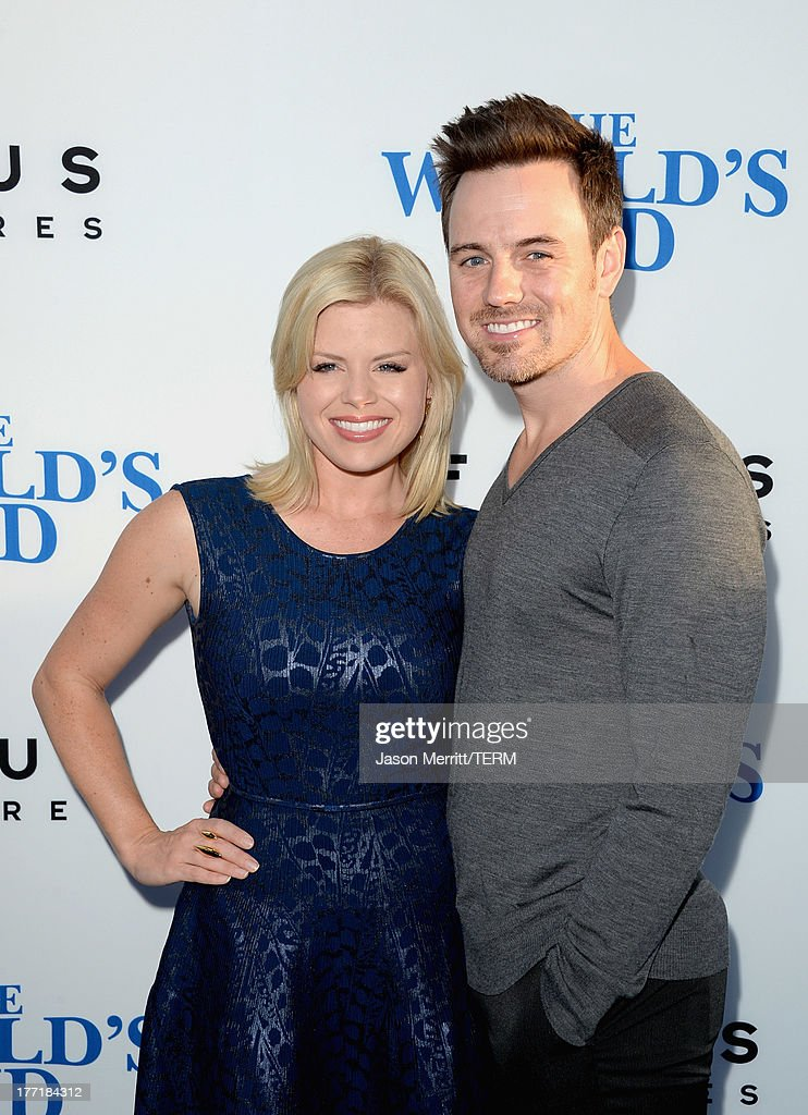 Actress Megan Hilty and Brian Gallagher arrive at the premiere of Focus Features' 'The World's End' at ArcLight Cinemas Cinerama Dome on August 21...