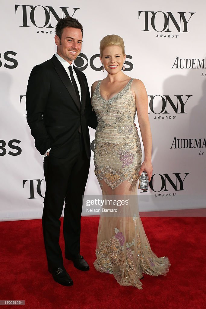 Actress <a gi-track='captionPersonalityLinkClicked' href=/galleries/search?phrase=Megan+Hilty&family=editorial&specificpeople=602492 ng-click='$event.stopPropagation()'>Megan Hilty</a> (R) and Brian Gallagher attend The 67th Annual Tony Awards at Radio City Music Hall on June 9, 2013 in New York City.