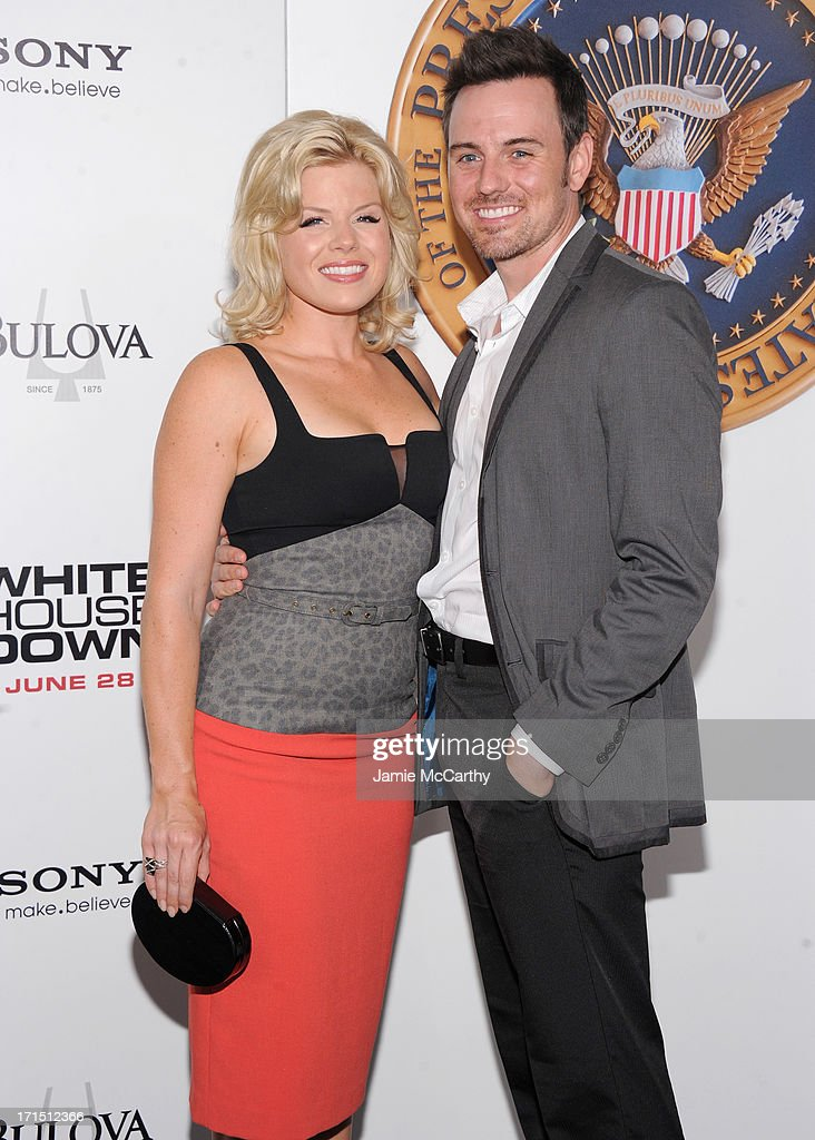 Actress <a gi-track='captionPersonalityLinkClicked' href=/galleries/search?phrase=Megan+Hilty&family=editorial&specificpeople=602492 ng-click='$event.stopPropagation()'>Megan Hilty</a> (L) and Brian Gallagher attend 'White House Down' New York Premiere at Ziegfeld Theater on June 25, 2013 in New York City.