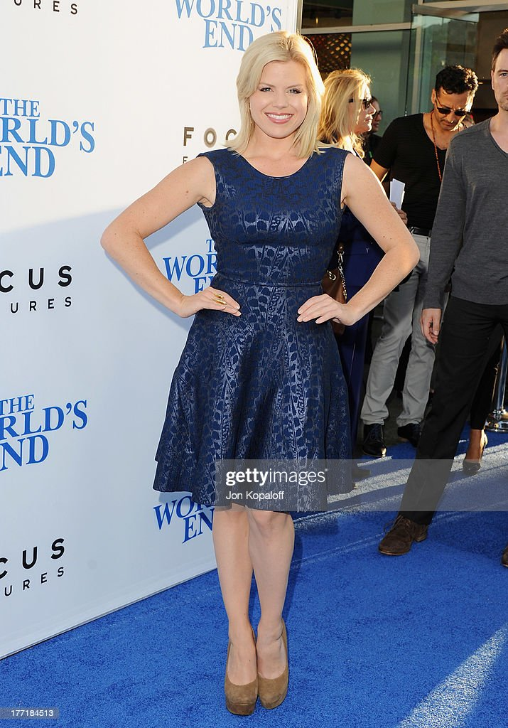 Actress <a gi-track='captionPersonalityLinkClicked' href=/galleries/search?phrase=Megan+Hilty&family=editorial&specificpeople=602492 ng-click='$event.stopPropagation()'>Megan Hilty</a> arrives at the Los Angeles Premiere 'The World's End' at ArcLight Cinemas Cinerama Dome on August 21, 2013 in Hollywood, California.