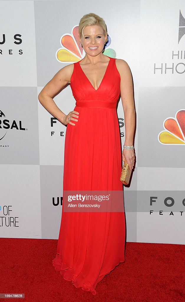 Actress Megan Hilty arrives at the NBC Universal's 70th annual Golden Globe Awards after party on January 13, 2013 in Beverly Hills, California.