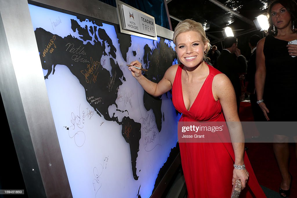 Actress Megan Hilty attends the NBCUniversal Golden Globes viewing and after party held at The Beverly Hilton Hotel on January 13, 2013 in Beverly Hills, California.