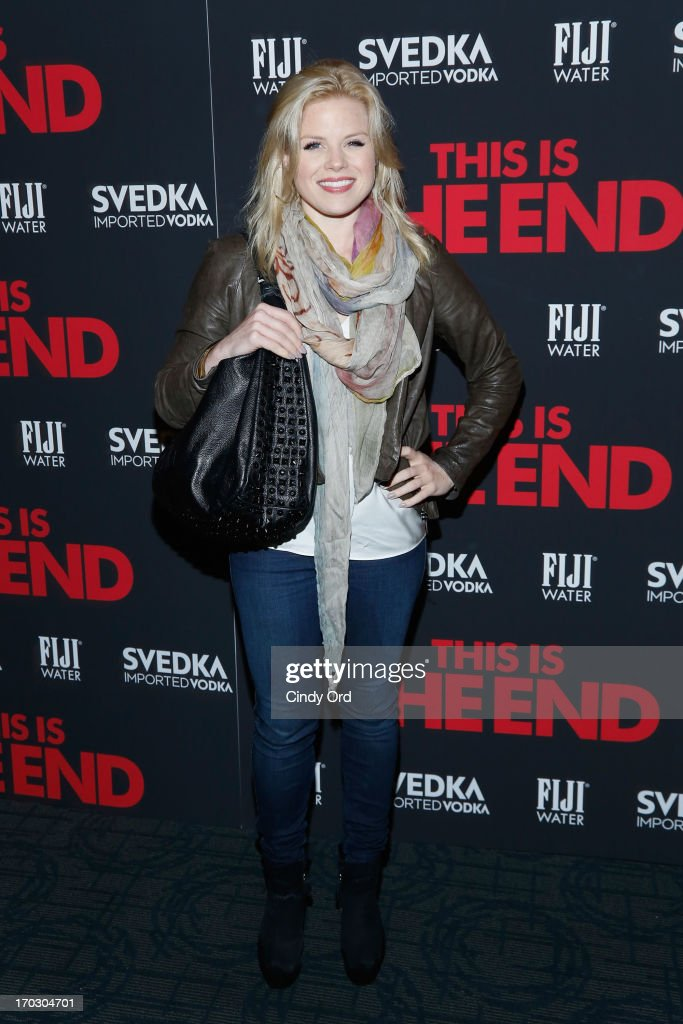 Actress <a gi-track='captionPersonalityLinkClicked' href=/galleries/search?phrase=Megan+Hilty&family=editorial&specificpeople=602492 ng-click='$event.stopPropagation()'>Megan Hilty</a> attends 'This Is The End' New York Premiere at Sunshine Landmark on June 10, 2013 in New York City.