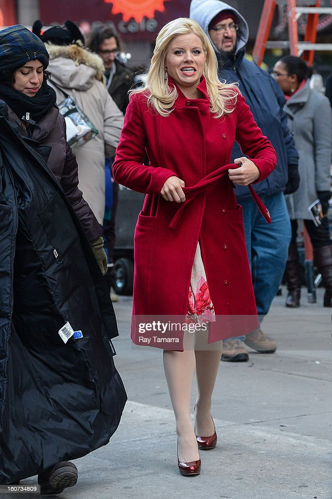 Actress Megan Hilty enters the 'Smash' movie set in Times Square on February 4, 2013 in New York City.