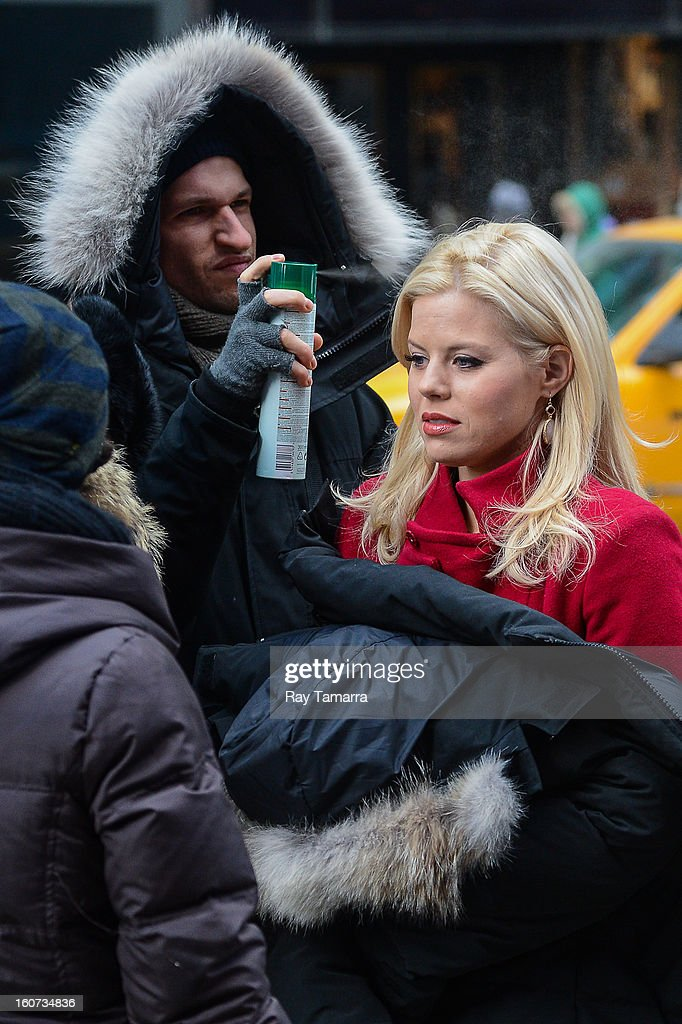 Actress Megan Hilty enters the 'Smash' movies set in Times Square on February 4, 2013 in New York Citys