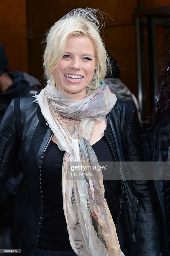 Actress Megan Hilty leaves the Sirius XM Studios on March 13, 2013 in New York City.